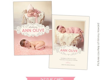 INSTANT DOWNLOAD - Birth announcement template - Sweet pea - E426