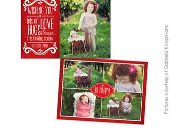 PSD Christmas Card Photoshop template - Holiday Kisses - E563