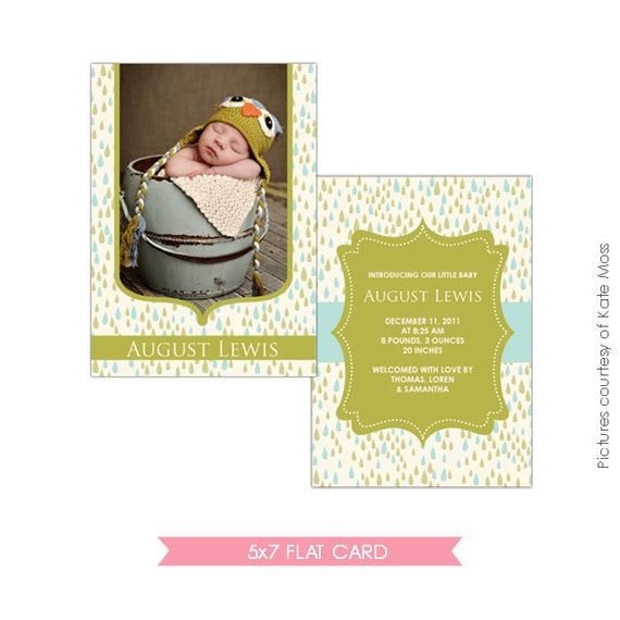 INSTANT DOWNLOAD - Birth announcement template - Sweet rain - E146