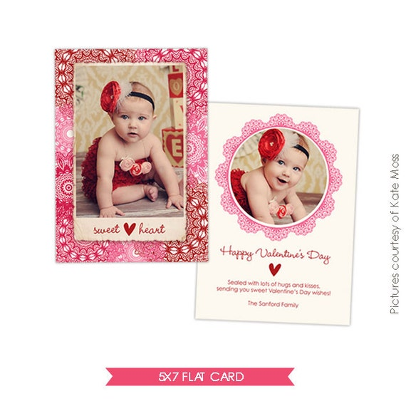 INSTANT DOWNLOAD -  Valentine Photoshop Template - Sweet Heart - E265
