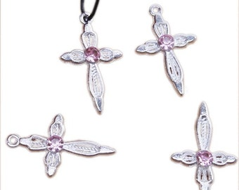 3 Cross Charms Pink Rhinestone Silver Plated 27 x 16 mm - ts232