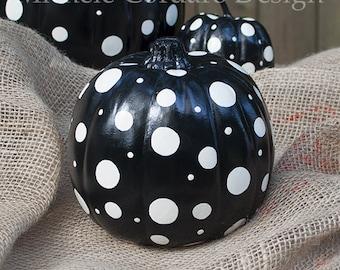 Black & White Pumpkins for Halloween  Thanksgiving Fall Decor - MEDIUM SIZE