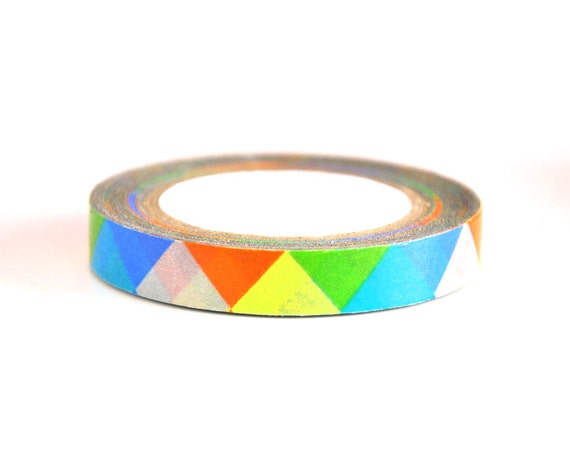 8mm thin border washi tape geometric colorful by nineteen27 for Geometric washi tape designs