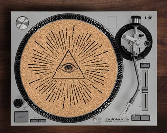 Turntable Slipmat - All Seeing Eye engraved Cork turntable slipmat with Reversable fabric Back