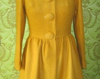 CUSTOM MADE RED Valentino collection inspired back bow wool mustard yellow coat