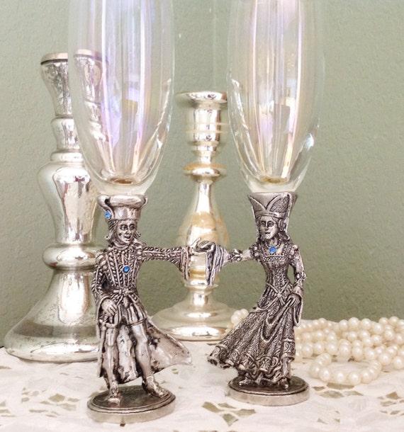 Vintage Toasting Glasses Pewter Champagne Flutes By Maisjamais