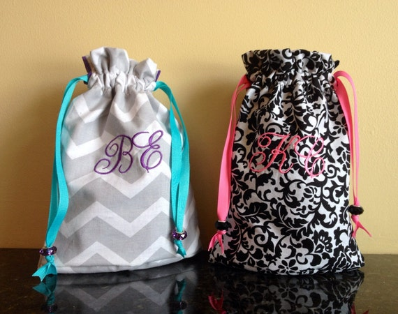 Items similar to Monogram Drawstring Bag on Etsy