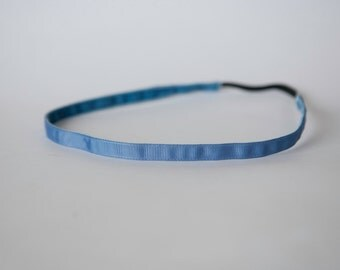No Slip Headband Smoke Blue Grosgrain 3/8""