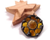 Stained Glass Pendant Stained Glass Wheel Necklace Handmade Jewelry Glass  Metal Jewelry Yellow Glass Pendant Rustic Necklace Glass Jewelry