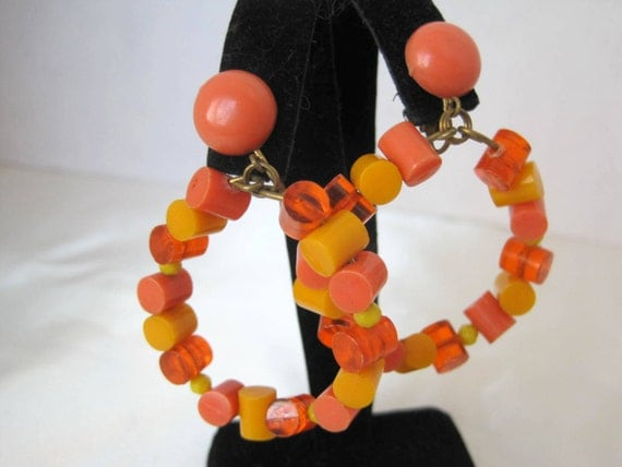 Orange Yellow Retro Earrings - Signed Germany - Modernist Hoops -  Lucite Dangle Clip Ons