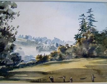 Vintage Art OOAK Painting Vintage Watercolor Painting Vintage Landscape Painting Vintage Woodland Painting