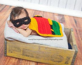 Newborn Robin cape and mask
