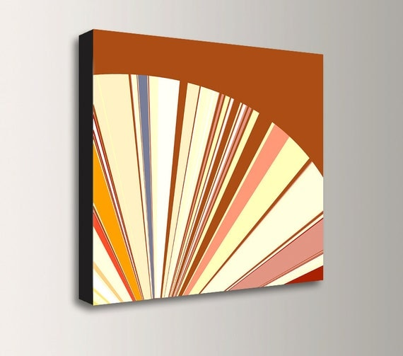 "Mid Century Modern - Abstract Art - Orange and Yellow Colors - Stretched Canvas Print - Modern Home Decor - ""Radius"""