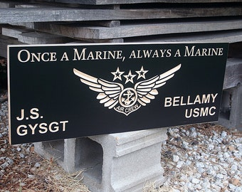 Military Retirement Sign, Wooden Man Cave Sign, USMC Retirement Plaque, Benchmark Custom Signs Maple MA