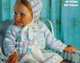 Baby Matinee Jacket Bootees and Bonnet in DK 8 ply for 18 - 21 ins - Marriner 1730 - pdf of Vintage Knitting Patterns
