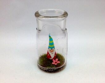 Cute Garden Gnome in Found Jar -Valentine or Spring Gift
