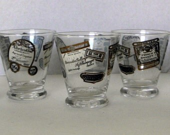 s/ 5 French Liquor Labels Whiskey Shot Glasses