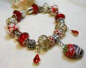 Valentine's Day Bracelet, Chocolate Covered Strawberry Bracelet, European Style Charm Bracelet, Classy Red and Silver Bracelet