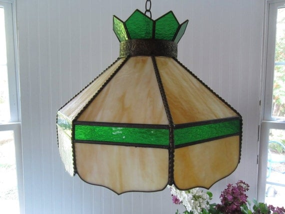 green and gold tiffany style hanging lamp by nanandpopsattic. Black Bedroom Furniture Sets. Home Design Ideas