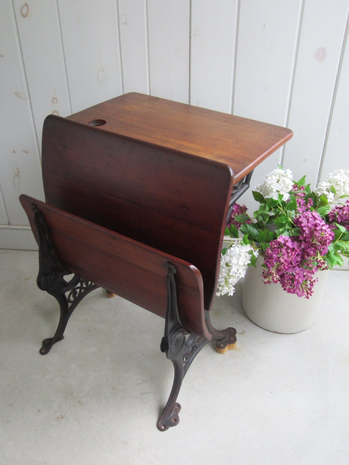 Wonderful Vintage Childs School Desk With Fold Up Seat And