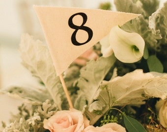 Pennant Flag Table Number. Canvas fabric, bamboo stick. Rustic or Simple Wedding Decor.