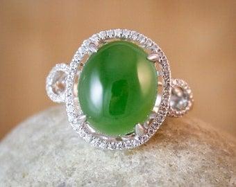 Diamond Halo Setting AAA Grade Jade Ring - Engagement Ring - Cocktail Ring