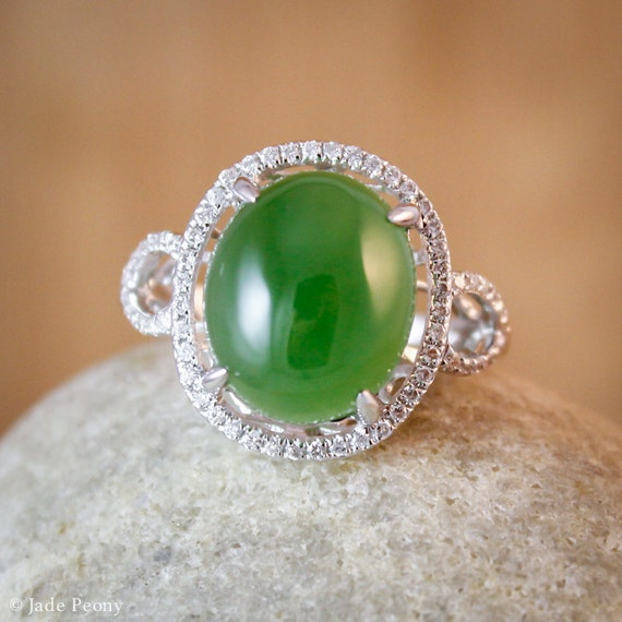halo setting aaa grade jade ring engagement ring