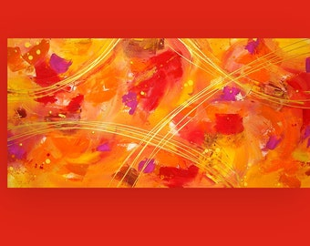 "Art & Collectibles Painting Acrylic Abstract Art on Canvas Titled: Falling Leaves 24x48x1.5"" by Ora Birenbaum"