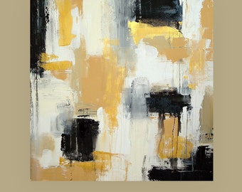 "Art Painting,Black and Gold Original Abstract Acrylic Painting Titled: Top Shelf 30x30x1.5"" by Ora Birenbaum"
