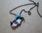 Gentoo Penguin Necklace / Chevron Necklace / Chevron Animal / Zig Zag  / Bird / Black and White / Colorful / Shrink Plastic Jewelry