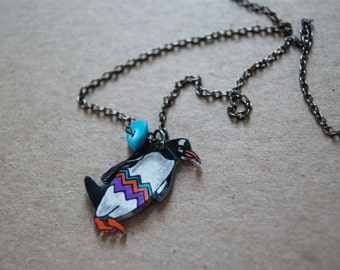 SALE Gentoo Penguin Necklace / Chevron Necklace / Chevron Animal / Zig Zag  / Bird / Black and White / Colorful / Shrink Plastic Jewelry