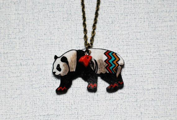 SALE Panda Bear Necklace / Chevron Necklace / Chevron Animal / Zig Zag  / Endangered Species / Black and White / Shrink Plastic Jewelry
