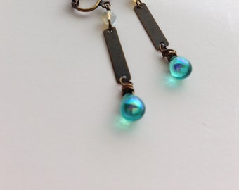 Teal Teardrop Clip On Earrings, Dangle Clip On, Opal white, Screw Back Earring