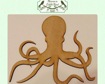 Octopus / Nautical (Large ) Wood Cut Out -  Laser Cut