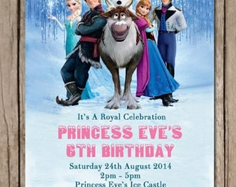 Frozen Anna Elsa Personalised Birthday Invitation - You Print