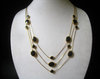 CLEARANCE AVON 3 Strand Vintage Necklace with 5 Black Ceramic Beads Placed Strategically on Each Strand  Lends Modernist Touch.