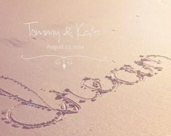 Custom - Personalized Typography - Wedding Gift - Beach Wedding - Beach Sand Photo - Fine Art Photography Print - Neutral Tan Home Decor