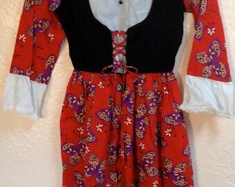 Vintage handmade girls BUTTERFLY historical costume dress