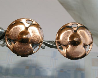 Vintage Copper Spring Back Clip Earrings- Charming 3 Petaled Flowers - 1950s