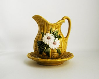 Small Vintage Pitcher and Plate Yellow Bamboo White Daisies