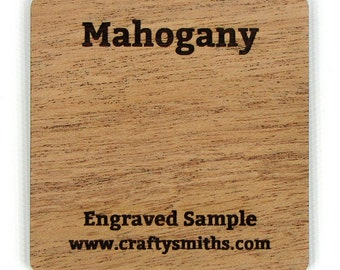 Mahogany - Solid Wood Laser Engraved Sample Chip