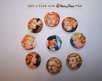 "Nancy Drew Fabric Pins / buttons / badges x 9  Get A Clue 1.5"""