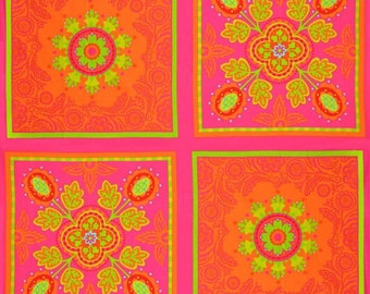 Michael Miller Pillow and Maxfield  Garden Party Orange Pink Panels 1 yard