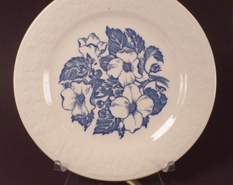 Dessert Plate by Homer Laughlin, Blue, Wild Rose, Diner Dish, Mid Century Dining, Made in USA, Vintage