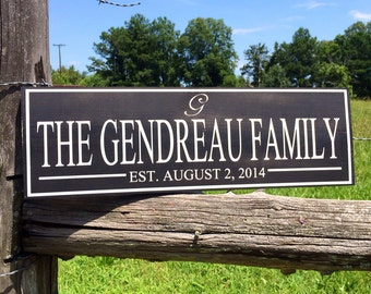 Personalized family name sign. Established plaque.