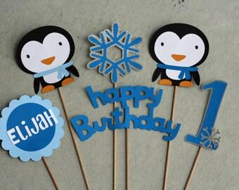 6pc Penguin and Snowflake Centerpiece Set,  Winter Birthday, Winter Onederland Party, Snowflake Birthday