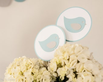 Baby Shower Centerpiece Sticks, Bird Baby Shower Decoration, Boy Baby Shower, Blue Gray Baby Shower