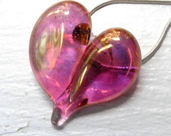 Pink Gold Heart Necklace, Lampwork Pendant, Flamework Glass, Blown Boro Jewelry, Charm Silver Chain SRA
