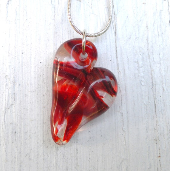 Red Glass Heart Necklace Jewelry Pendant Handblown Boro Focal Bead SRA Twisted Shades of Red