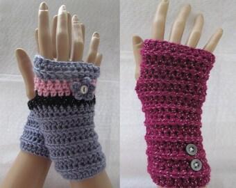 Long cuff fingerless mittens, crochet gloves